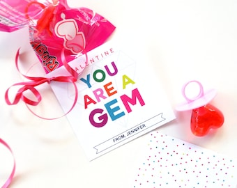 You are a GEM Ring Pop Valentines Day Card Tags Instant Download Printable Editable PDF File