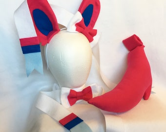 Sylveon Ears Bowtie Tail Sylveon cosplay ears Sylveon Bow Sylveon costume ears Sylveon Gijinka Eeveelution ears sylveon tail sylveon cosplay