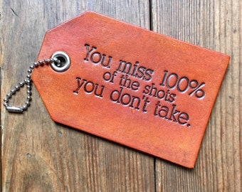 Funny Leather Luggage Bag Tag Choose Your Color Wayne Gretzky quote