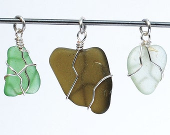 Sea Glass Pendants- 3 silver and green beach glass pendants, beach jewelry, seaglass pendant, wire wrapped sea glass, recycled glass pendant