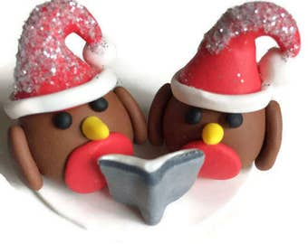 Robin Christmas Cake Topper, Christmas Decoration, Christmas Ornament, Polymer Clay, Christmas Keepsake, Robin Centrepiece, Christmas Robins