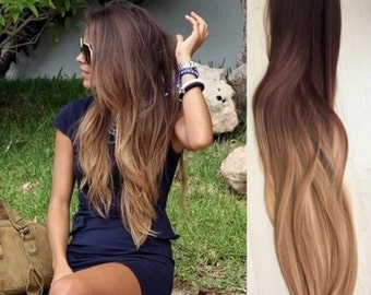 Full Head Dip dye Clip in Human Hair extensions Ombre 6 Pcs Dark brown to dirty blonde