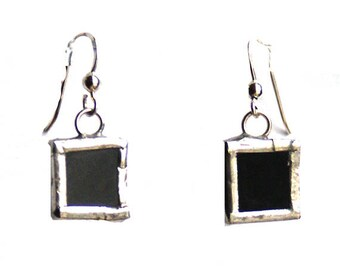 Black Square Earrings- Black Glass Earrings- Geometric Earrings- Artistic Earrings- Birthday Gift- Gift for Her- Everyday Earring- Glass Art