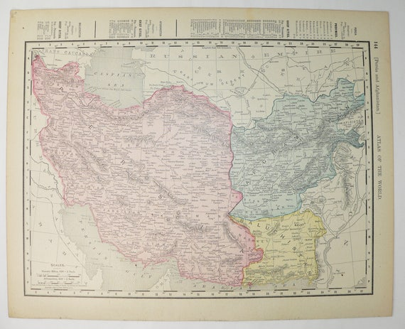 1900 Middle East Map Iran Vintage Map Persia Afghanistan