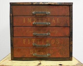 Vintage Metal Tool chest Imperial 5 drawer desktop Cabinet Advertising box Supply storage