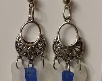 Lake Erie frosted clear and blue earrings.