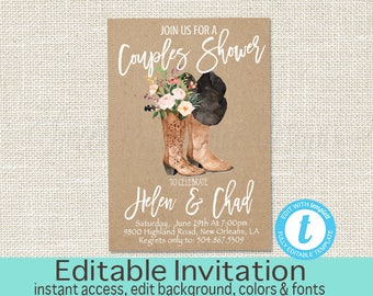 Country Couples Shower Invitation, Co-Ed Bridal Boots Invite, Couples Shower, Engagement Party, Boots and Hats, Templett, Instant Download