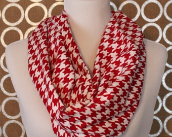 Red and White Houndstooth Flannel Infinity Scarf