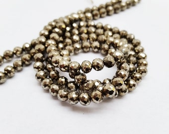 "Pyrite Faceted Round Beads app.5mm, 13"" long"