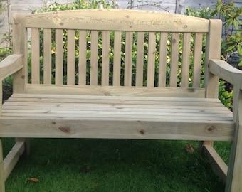 4 foot Engraved Redwood Garden Bench for anniversary, retirement, memorial, etc