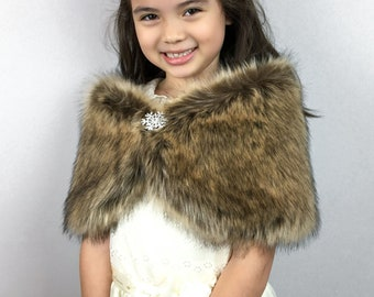 Brown Flower Girl Faux Fur Wrap, Shawl (comes with pin) (Kid Brw01)
