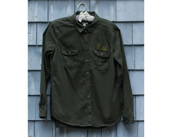 Little Pine Trees embroidered button-down (women's L)