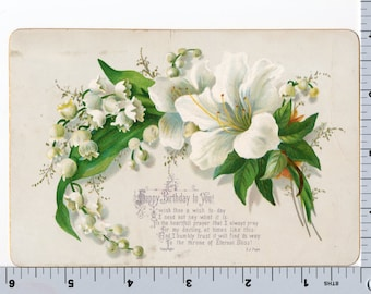 Vintage Victorian Greeting Card - Birthday Card - Hibiscus Flower Lily of the Valley 1885