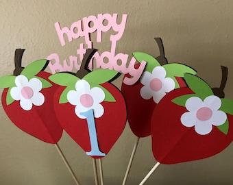 Strawberry Party Centerpiece, Strawberry 1st Birthday, Strawberry Baby Shower, Strawberry Birthday Party, Strawberry Shortcake Party