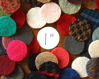Wool Circles -- 50 - 1-inch Wool Circles -- Precut Recycled Felted Wool Circles -- Wool Pennies
