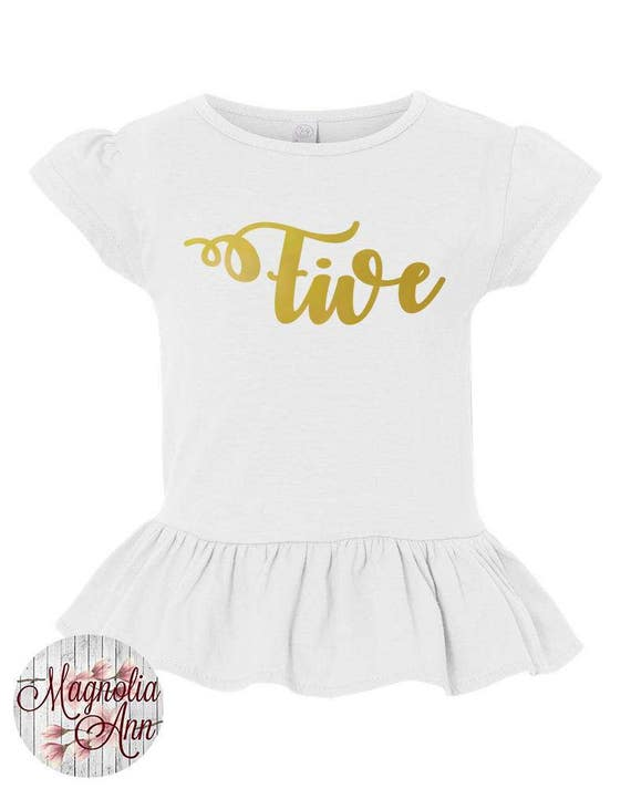 Five, 5th Birthday, Birthday Girl, Toddler, Little Girls Ruffle Tee in 4 Colors in Sizes 2T-Girls Large