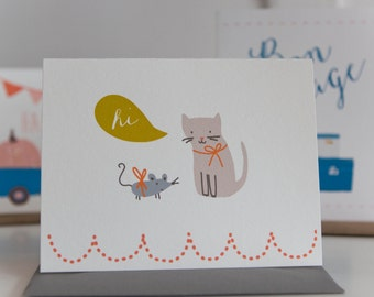 Hi Kitty & Mouse Folding Card With Envelope