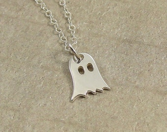 Ghost Necklace, Sterling Silver Ghost Charm on a Silver Cable Chain