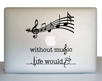 Macbook Sticker, Laptop Music Decal, Gift for music student, Music staff decal, music notes decal sticker