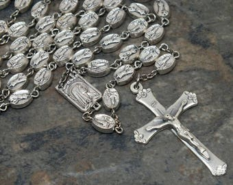 Fatima Rosary of Silver Metal, Marian Rosary, 5 Decade Rosary, Catholic Rosary, Mary Rosary, Our Lady of Fatima Rosary