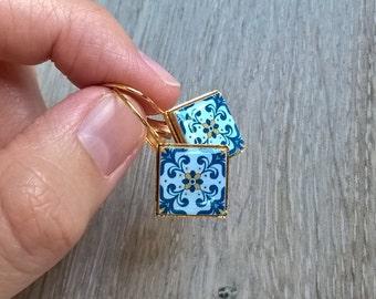 Portugal azulejo earrings, Portuguese tiles, Portugal, azulejo jewelry, tile earrings, Portuguese jewelry, vacations gift, Portugal souvenir