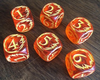 Engraved FIREBALL Dice for Tabletop Gaming - Translucent Orange