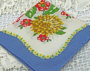 Vintage Hankie, Huge Beautiful Yellow Flower #D-43