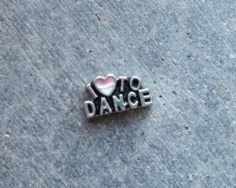 Floating Charm For Glass Memory Lockets- I Love to Dance
