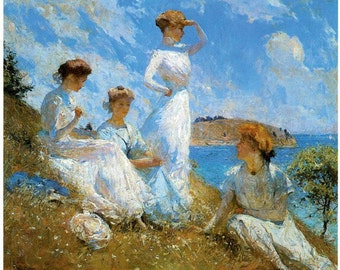 Hand-cut wooden jigsaw puzzle. WOMEN in SUMMER. FW Benson. Impressionist. Impressionism. Wood, collectible. Bella Puzzles.