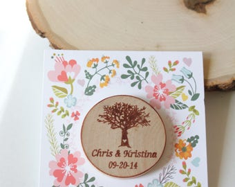 Wedding magnets tree wood save the date Wedding favors   magnets - Custom Save the date Wedding Favor Wood tree Beach theme-custom made