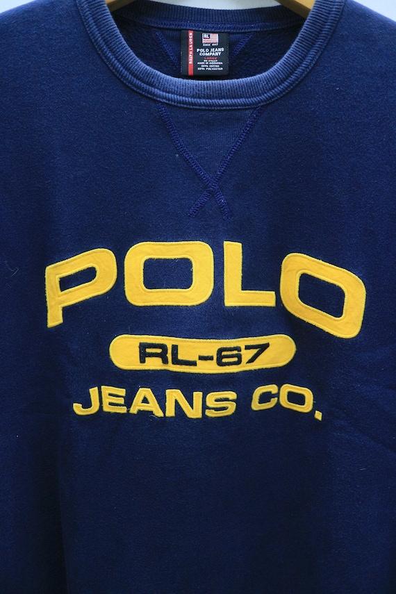 Co Sweatshirt Big Blue Spell Sweater L Designer Vintage Jeans Size RL 67 POLO RwxXqpIA