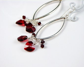 Long Sterling Silver Tube and Red Crystal Heart Dangle Earrings; Valentines Anniversary Gift for Her; Linear Dangles; Heart Cluster Drops