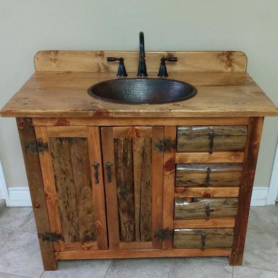 """RUSTIC BATHROOM VANITY - 42""""- Rustic Log Vanity - MS1371-42C - Bathroom Vanity with Sink - Bathroom Vanities - Copper Sink - Rustic Bathroom"""