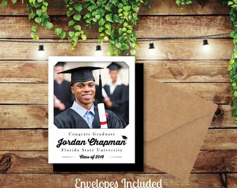 Stately Graduation Photo Magnets, personalized, party favors, fridge magnets, photo magnet, high school, college, class of 2018 + Envelopes