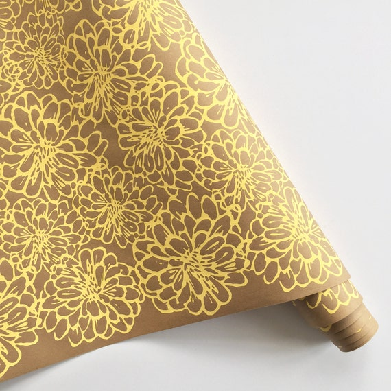 Wrapping Paper   ON SALE   Floral Gift Wrapping Paper, Screen Printed, 9ft  Roll, Paper Table Runner, Gift Wrap, Floral Wrapping Paper From  BonnieKayeStudio ...