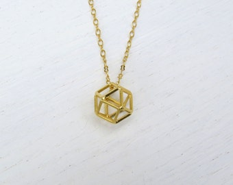 Spring SALE - Long gold pendant necklace, Geometric necklace, Polyhedron pendant, Hexagon necklace