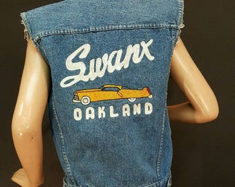 Swanx Oakland 1950s Car Club Denim Jean Jacket Vest Hot Rod Kustom Vintage