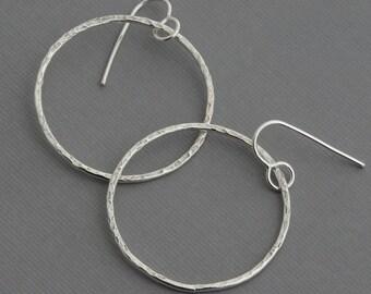 Hoop earrings silver dangle hoops hammered hoops medium hoops minimal minimalist earrings geometric jewelry artisan handmade boho jewelry
