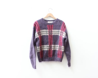 Plum Plaid Mohair 80s Sweater