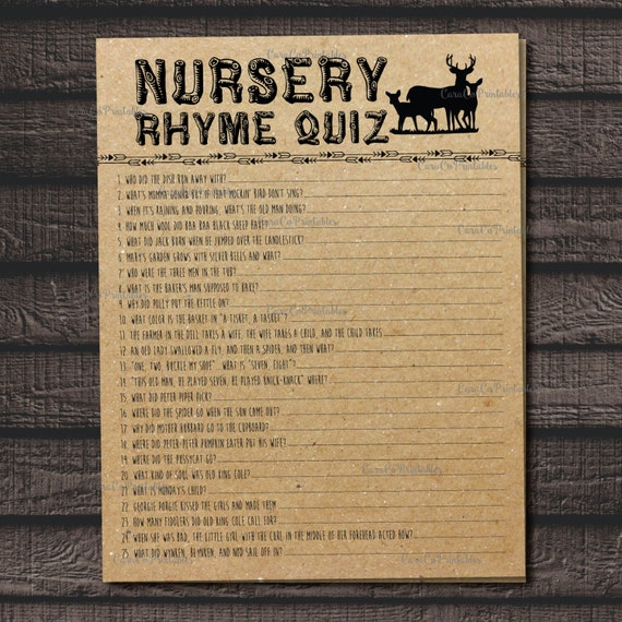 Nursery Rhyme Quiz Baby Shower Game Fill In The Blanks