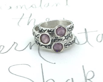 SALE purple sapphire engagement ring . alternative engagement ring . recycled silver tudor rose engagement ring . ready to ship size 4.5