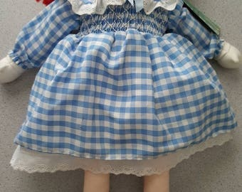 """1994 18"""" Madeline Doll in Blue White Check Dress and Straw Hat with tags Eden Toys"""
