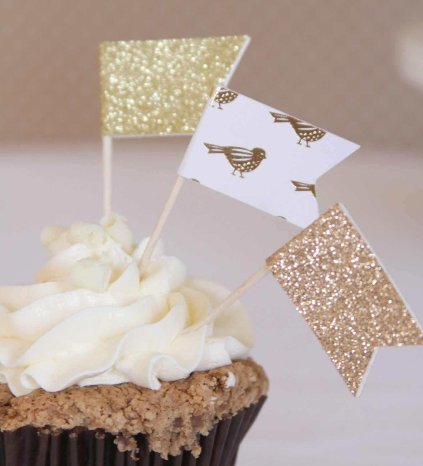 Enchanted Forest Wedding Cupcake Toppers, Woodland Wedding Gold ...