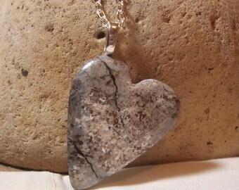 "Faux Granite Heart Necklace - hand sculpted broken heart gift  - 26"" long hang"