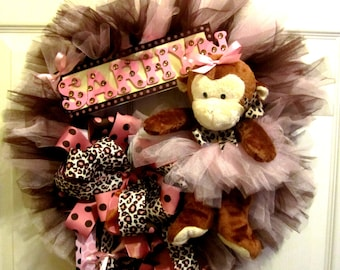 Light Pink and Cheetah Baby Wreath with Monkey