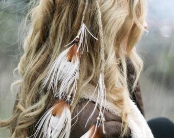 Feather headband / Hippie headband / Feathers lover / Hair jewelry / Festival headband / Boho headband / Native headband