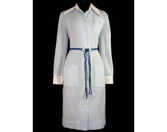 Size 12 Princess Crown Crest 1960s Powder Blue Knit Sweater Dress - Original Cobalt Belt - 60s Deadstock with Tag - Bust 38.5 - 41211-1