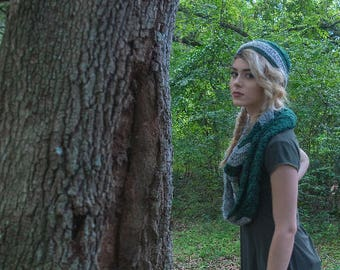Green and Silver Chevron Infinity Scarf