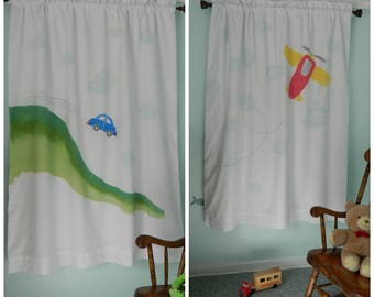 Handpainted Fun Vehicles: Car or Airplane Blackout Curtain Panel