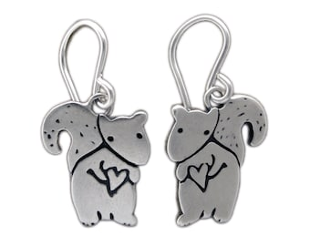 Little Squirrel Earrings - Sterling Silver Tubby the Squirrel Earrings
